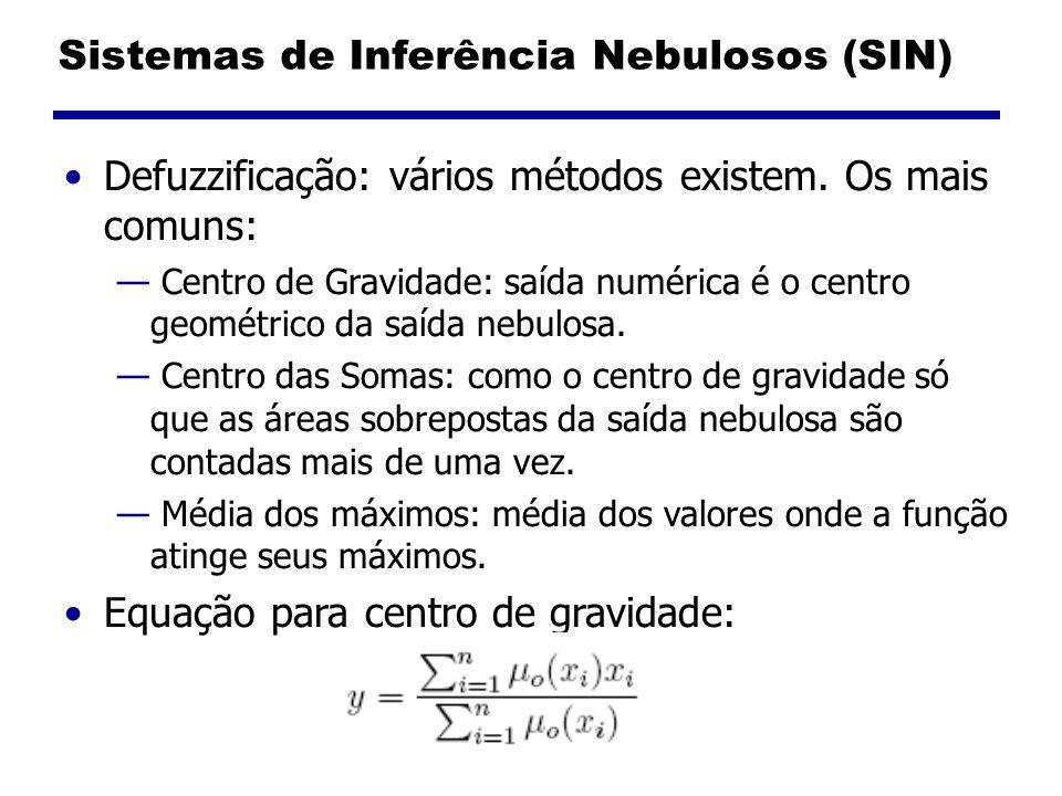 Sistemas de Inferência Nebulosos (SIN) Defuzzificação: vários métodos existem. Os mais comuns: Centro de Gravidade: saída numérica é o centro geométri