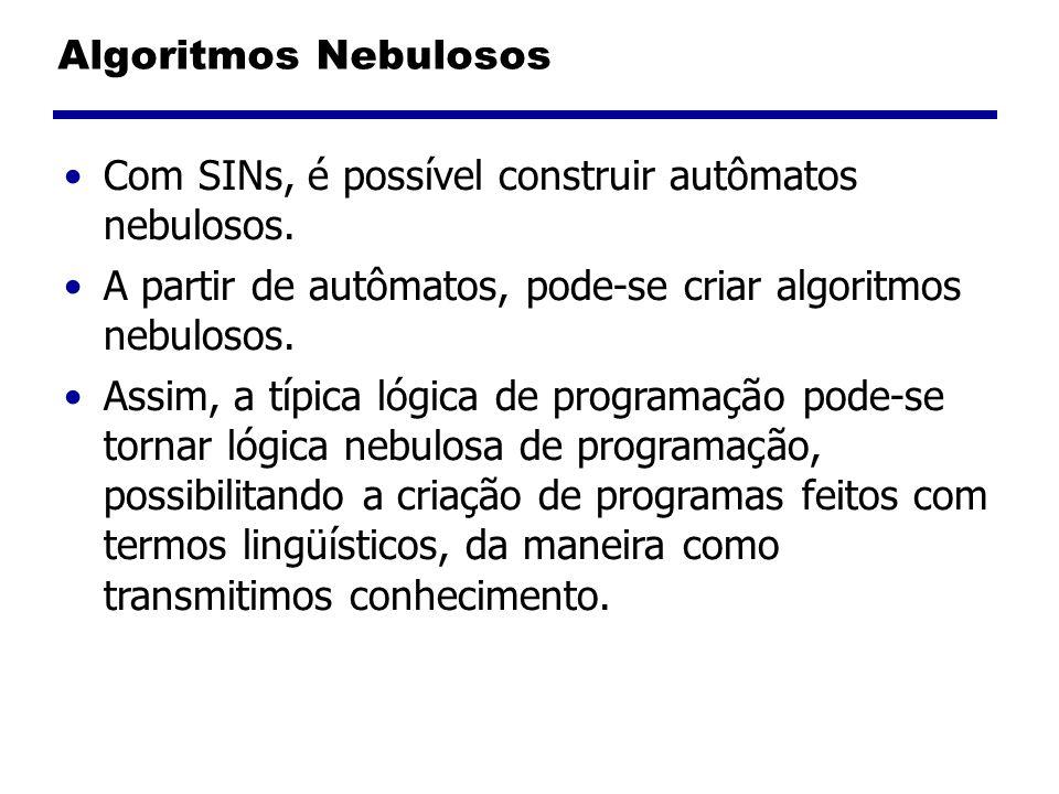 Algoritmos Nebulosos Com SINs, é possível construir autômatos nebulosos. A partir de autômatos, pode-se criar algoritmos nebulosos. Assim, a típica ló