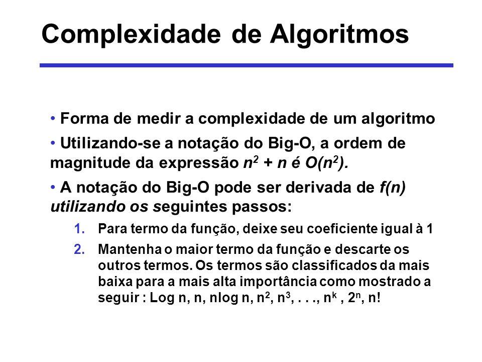 Complexidade - Exemplo Calcular a notação do Big-O da seguinte função: Primeiramente, é assumido que os coeficientes sejam iguais ao valor 1: Em seguida são removidos os fatores de importância mais baixa.