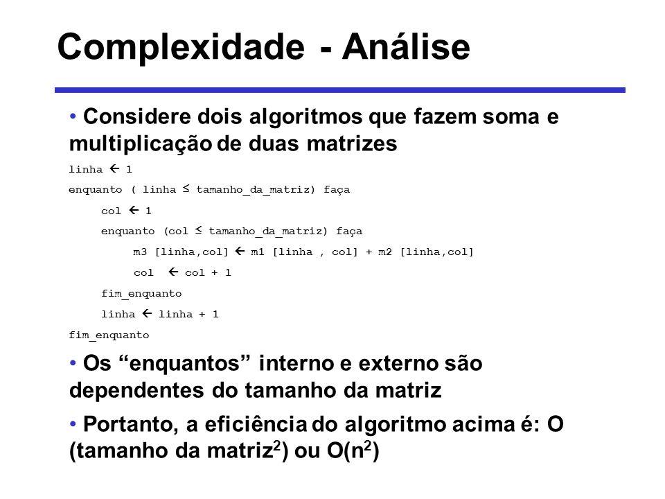 Complexidade - Análise Agora a multiplicação linha 1 enquanto (linha tamanho_da_matriz) faça col 1 enquanto (col tamanho_da_matriz) faça m3 [linha, col ] 0 k 1 enquanto (k tamanho_da_matriz) faça m3 [linha, col] m3[linha, col] + m1[linha,k] * m2 [k, col] k k +1 fim_enquanto col col +1 fim_enquanto linha linha +1 fim_enquanto Três estruturas de repetição aninhadas tem uma eficiência na notação Big-O como: O(tamanho da matriz 3 ) ou O(n 3 )
