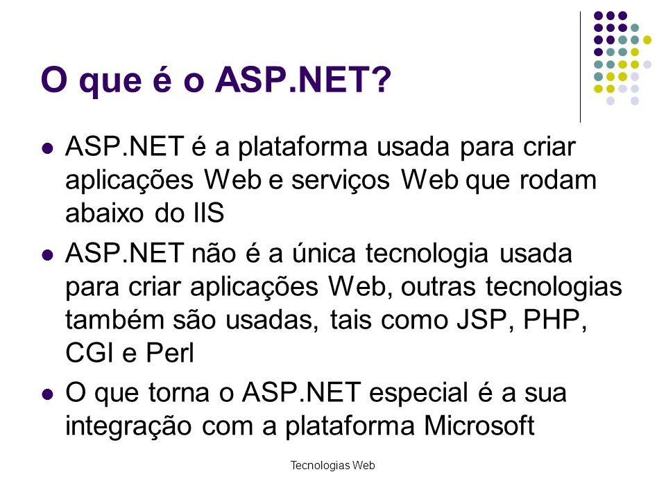 Tecnologias Web O que é o ASP.NET? ASP.NET é a plataforma usada para criar aplicações Web e serviços Web que rodam abaixo do IIS ASP.NET não é a única