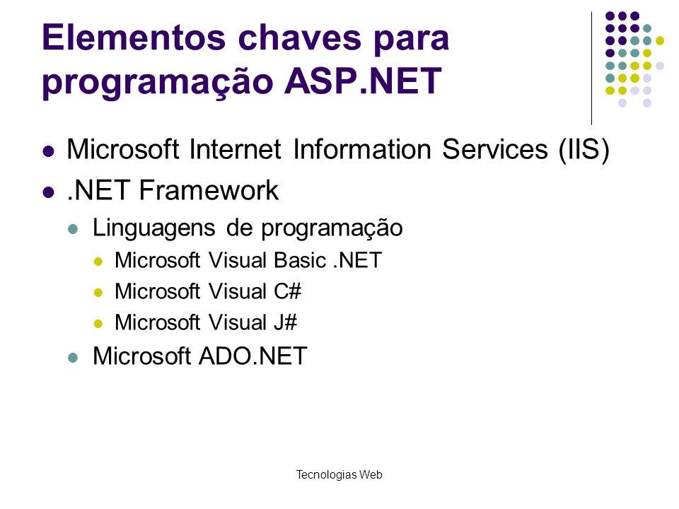 Tecnologias Web Elementos chaves para programação ASP.NET Microsoft Internet Information Services (IIS).NET Framework Linguagens de programação Micros