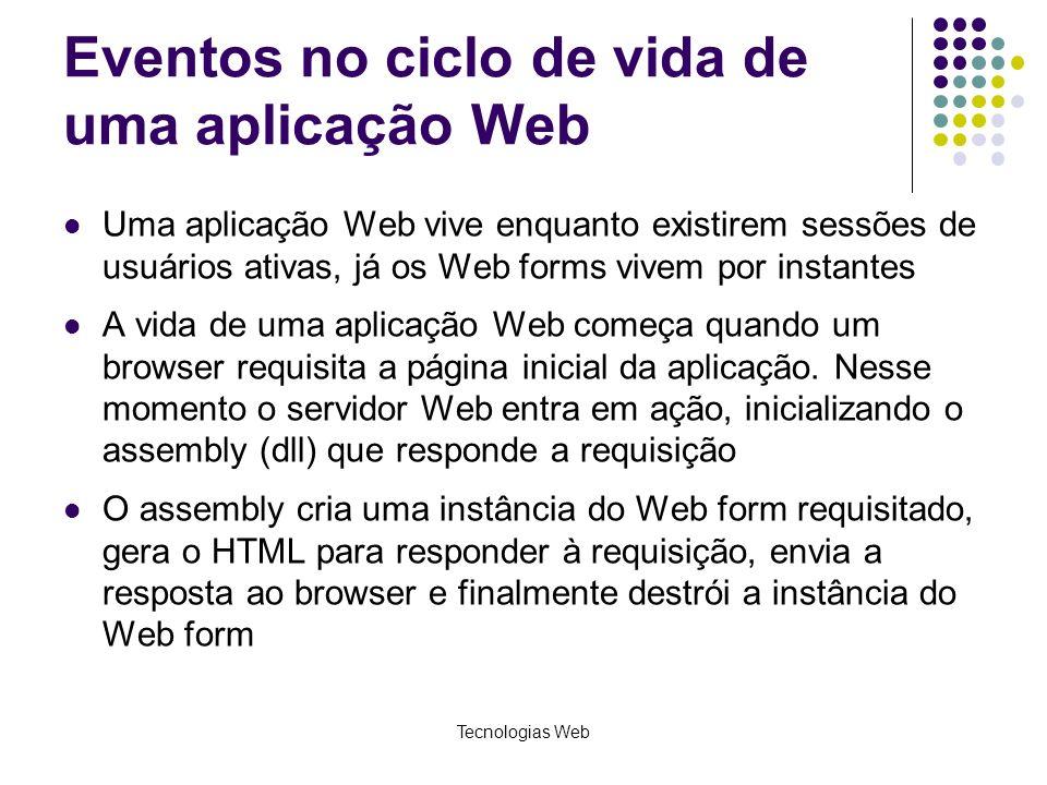 Tecnologias Web Eventos no ciclo de vida de uma aplicação Web Uma aplicação Web vive enquanto existirem sessões de usuários ativas, já os Web forms vi