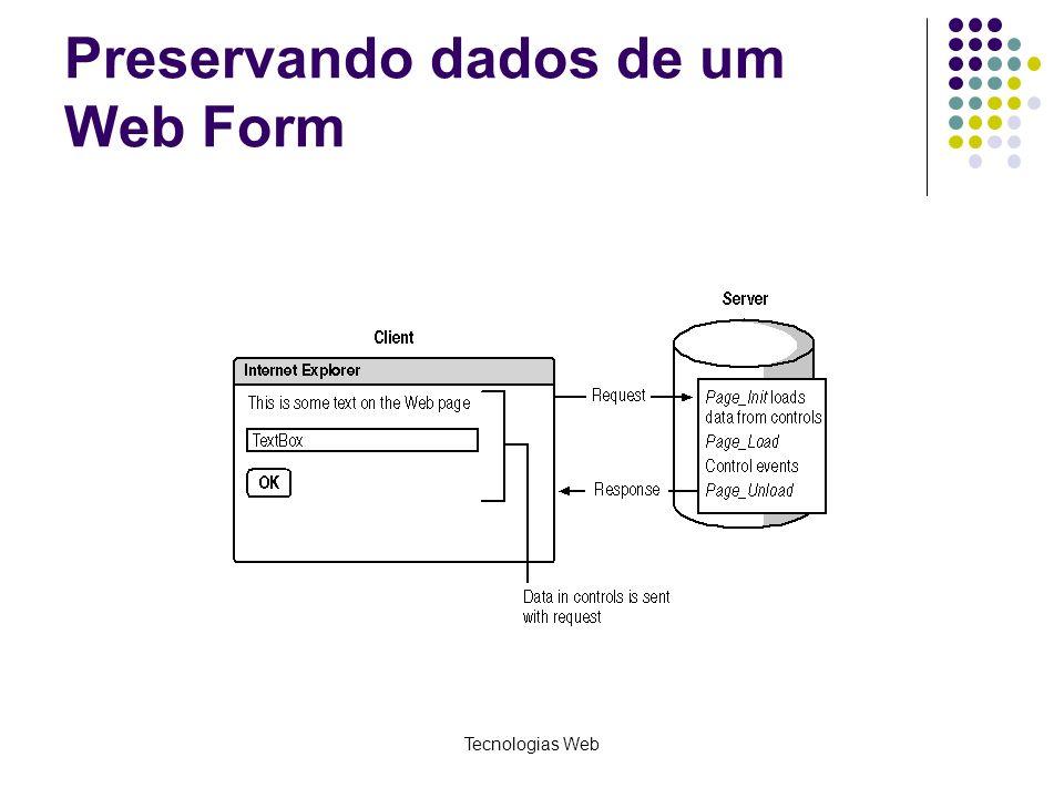 Tecnologias Web Preservando dados de um Web Form