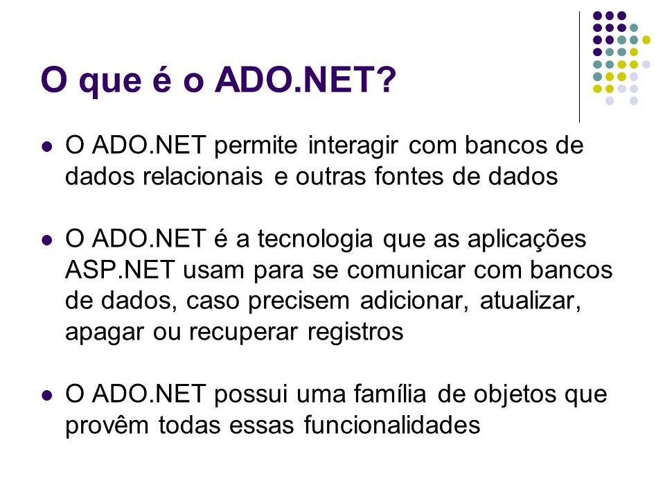 O que é o ADO.NET? O ADO.NET permite interagir com bancos de dados relacionais e outras fontes de dados O ADO.NET é a tecnologia que as aplicações ASP