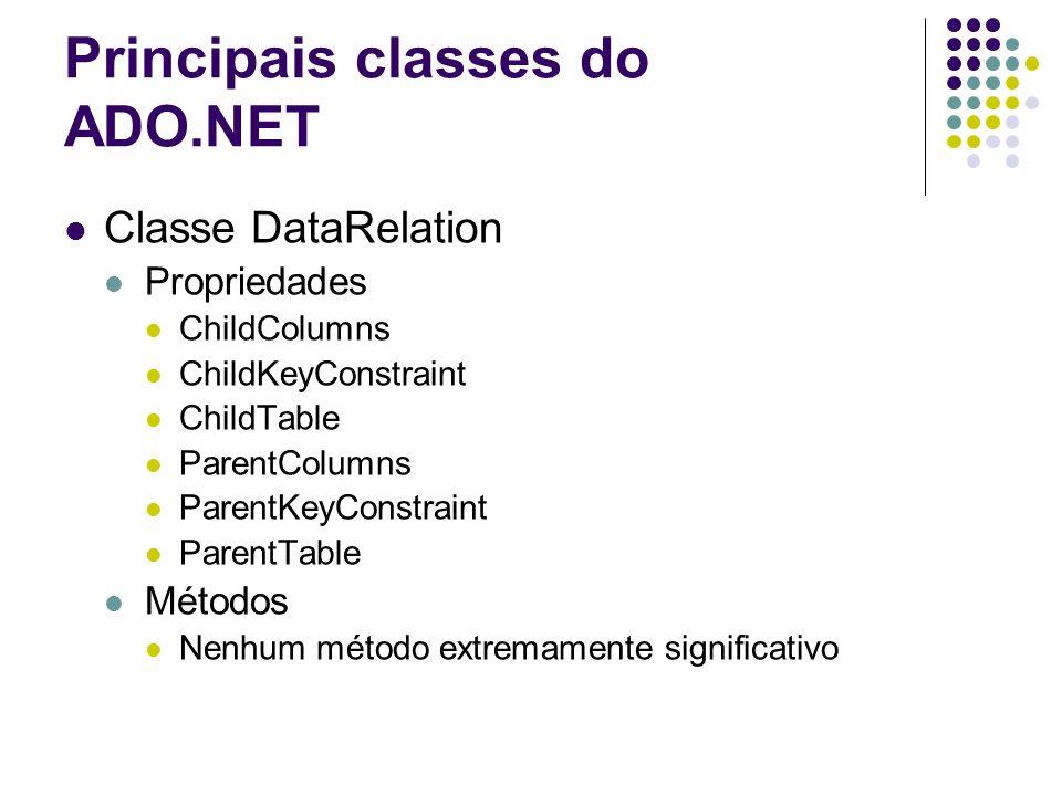 Principais classes do ADO.NET Classe DataRelation Propriedades ChildColumns ChildKeyConstraint ChildTable ParentColumns ParentKeyConstraint ParentTabl