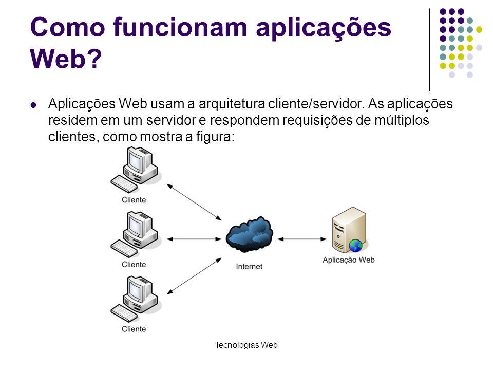 Tecnologias Web Como funcionam aplicações Web? Aplicações Web usam a arquitetura cliente/servidor. As aplicações residem em um servidor e respondem re