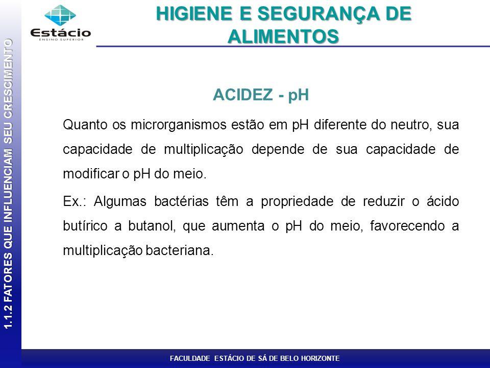 FACULDADE ESTÁCIO DE SÁ DE BELO HORIZONTE ACIDEZ - pH Quanto os microrganismos estão em pH diferente do neutro, sua capacidade de multiplicação depend