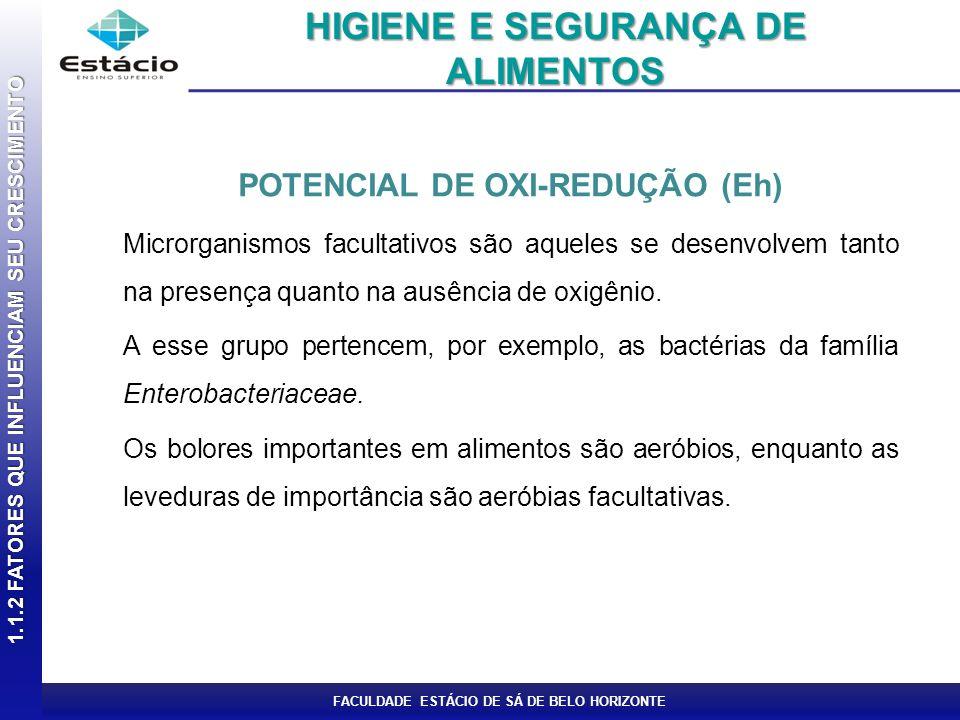 FACULDADE ESTÁCIO DE SÁ DE BELO HORIZONTE POTENCIAL DE OXI-REDUÇÃO (Eh) Microrganismos facultativos são aqueles se desenvolvem tanto na presença quant