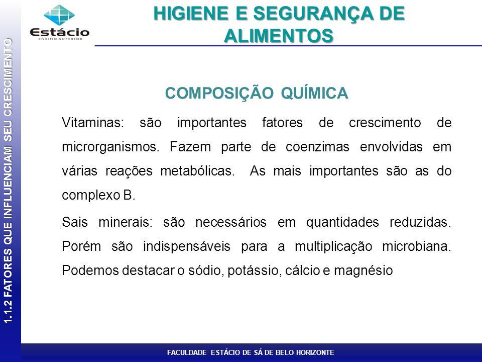FACULDADE ESTÁCIO DE SÁ DE BELO HORIZONTE COMPOSIÇÃO QUÍMICA Vitaminas: são importantes fatores de crescimento de microrganismos. Fazem parte de coenz