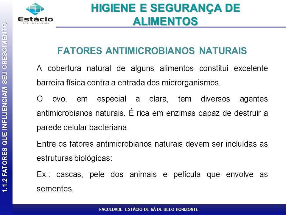 FACULDADE ESTÁCIO DE SÁ DE BELO HORIZONTE FATORES ANTIMICROBIANOS NATURAIS A cobertura natural de alguns alimentos constitui excelente barreira física