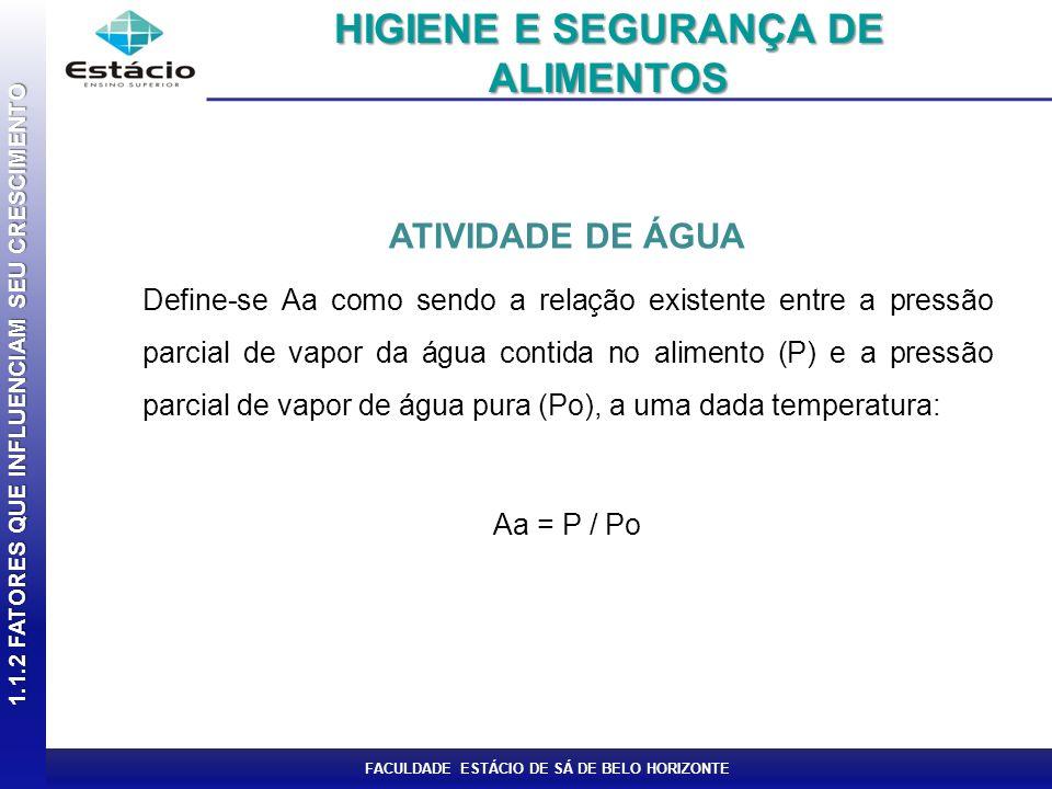 FACULDADE ESTÁCIO DE SÁ DE BELO HORIZONTE ATIVIDADE DE ÁGUA Define-se Aa como sendo a relação existente entre a pressão parcial de vapor da água conti