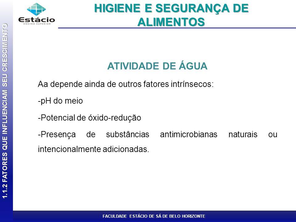 FACULDADE ESTÁCIO DE SÁ DE BELO HORIZONTE ATIVIDADE DE ÁGUA Aa depende ainda de outros fatores intrínsecos: -pH do meio -Potencial de óxido-redução -P