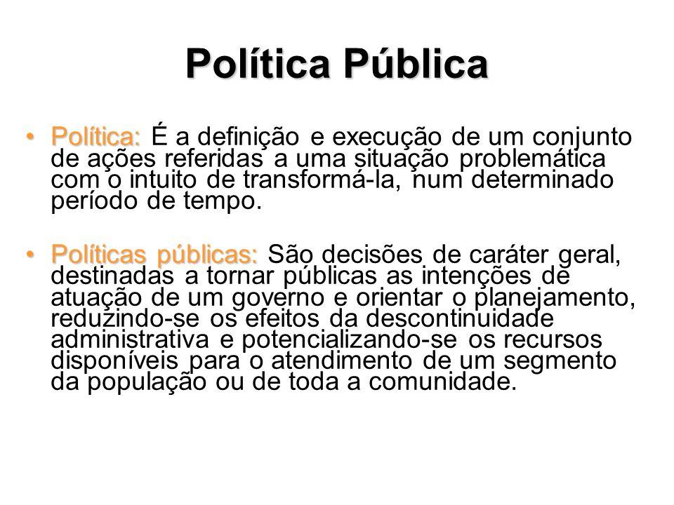 Política pública Programa:Programa: É um desenho de atividades que produzem uma mudança esperada na situação problemática identificada na Política, num determinado marco temporal, tendo em vista uma população alvo.