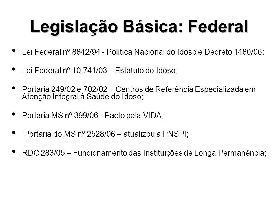 Legislação Estadual Lei Estadual nº 11.517/00 – Institui a Política Estadual do Idoso – PEI.
