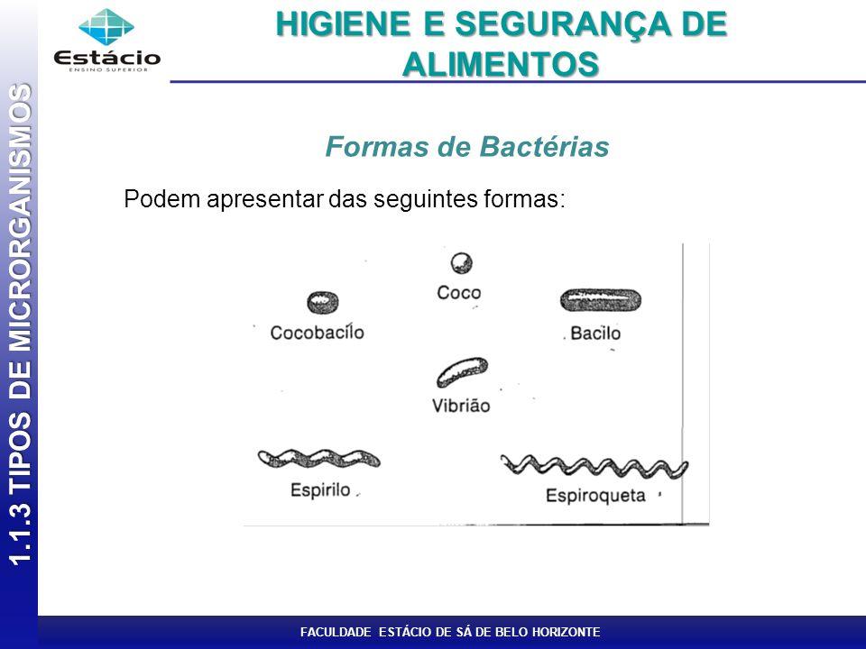 FACULDADE ESTÁCIO DE SÁ DE BELO HORIZONTE Formas de Bactérias Podem apresentar das seguintes formas: 1.1.3 TIPOS DE MICRORGANISMOS HIGIENE E SEGURANÇA