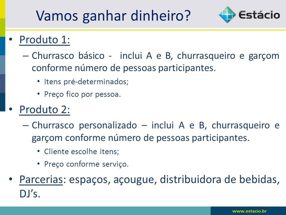 Vamos ganhar dinheiro? Produto 1: – Churrasco básico - inclui A e B, churrasqueiro e garçom conforme número de pessoas participantes. Itens pré-determ