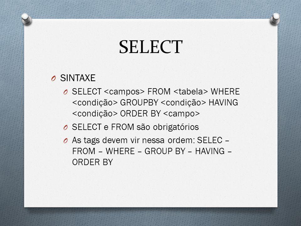 SELECT O SINTAXE O SELECT FROM WHERE GROUPBY HAVING ORDER BY O SELECT e FROM são obrigatórios O As tags devem vir nessa ordem: SELEC – FROM – WHERE –