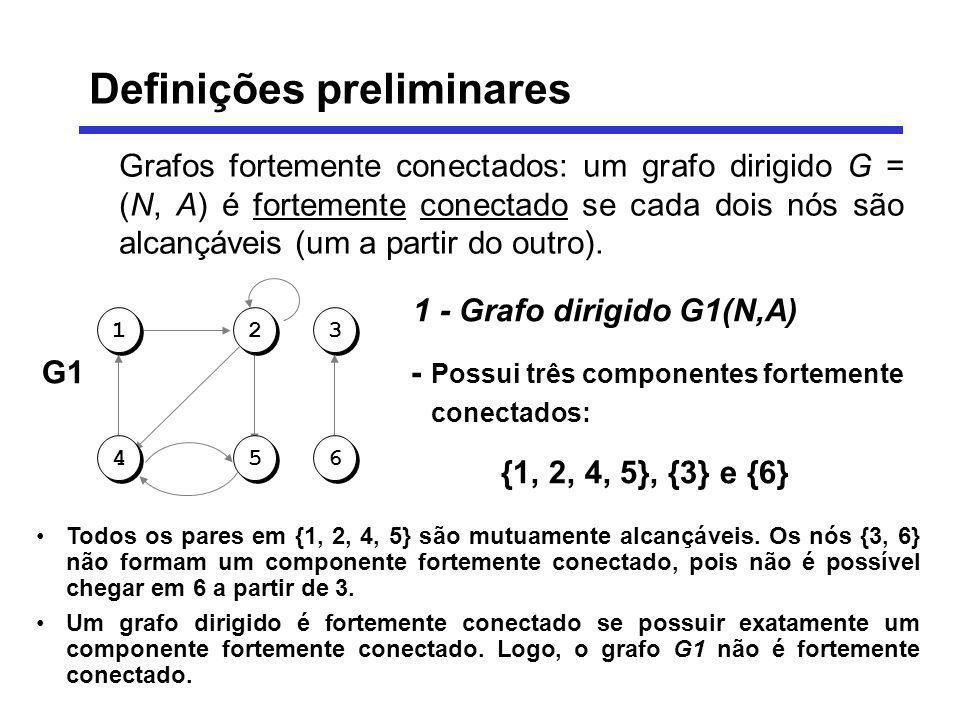 Grafos fortemente conectados: um grafo dirigido G = (N, A) é fortemente conectado se cada dois nós são alcançáveis (um a partir do outro). 1 - Grafo d