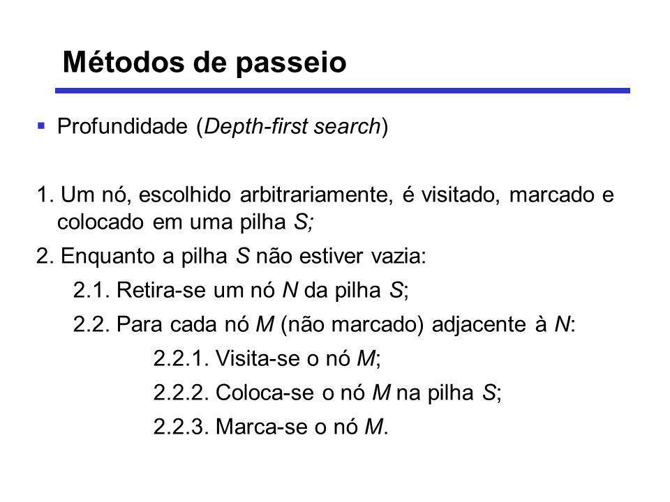 Profundidade (Depth-first search) 1. Um nó, escolhido arbitrariamente, é visitado, marcado e colocado em uma pilha S; 2. Enquanto a pilha S não estive