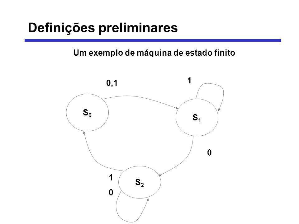 Um exemplo de máquina de estado finito S0S0 S1S1 S2S2 1 0,1 0 1010 Definições preliminares