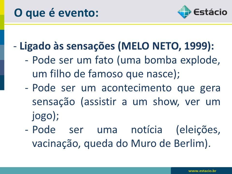 O que é evento: - Ligado às sensações (MELO NETO, 1999): -Pode ser um fato (uma bomba explode, um filho de famoso que nasce); -Pode ser um acontecimen