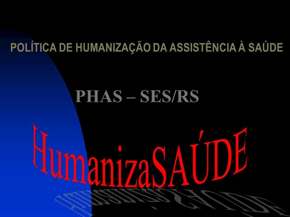 PHAS – SES/RS POLÍTICA DE HUMANIZAÇÃO DA ASSISTÊNCIA À SAÚDE