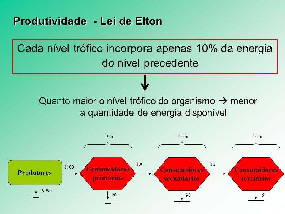 Produtividade - Lei de Elton Cada nível trófico incorpora apenas 10% da energia do nível precedente Quanto maior o nível trófico do organismo menor a