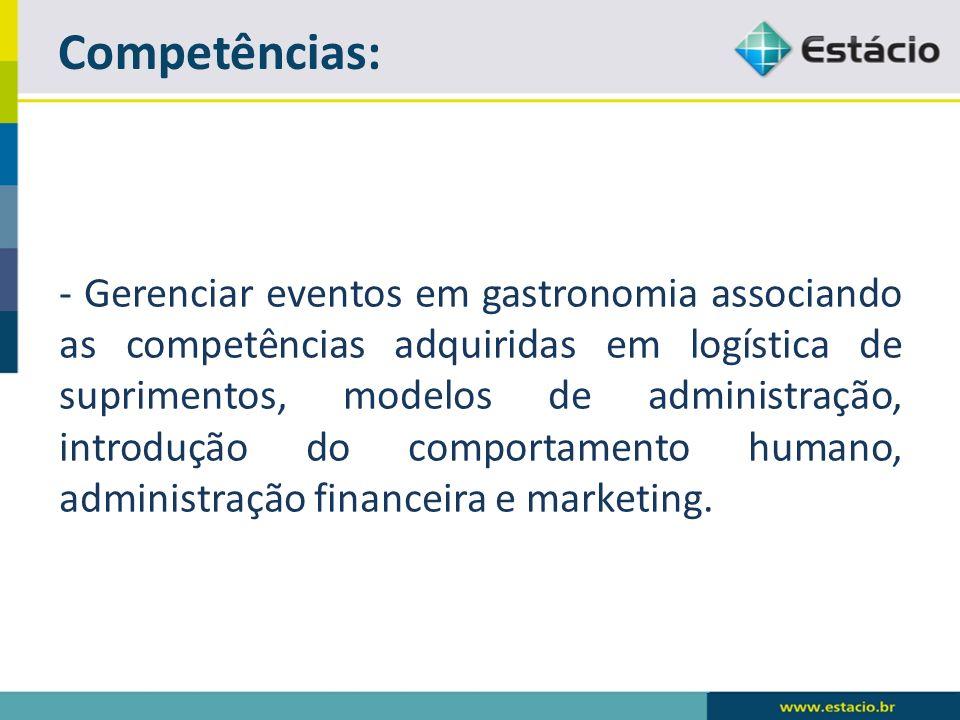 - Gerenciar eventos em gastronomia associando as competências adquiridas em logística de suprimentos, modelos de administração, introdução do comportamento humano, administração financeira e marketing.