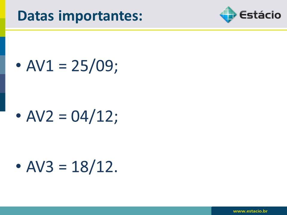 AV1 = 25/09; AV2 = 04/12; AV3 = 18/12. Datas importantes: