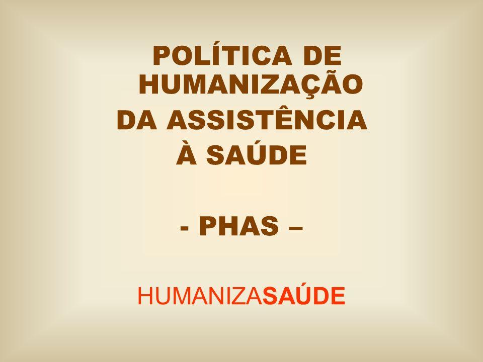 POLÍTICA DE HUMANIZAÇÃO DA ASSISTÊNCIA À SAÚDE -PHAS – HUMANIZASAÚDE