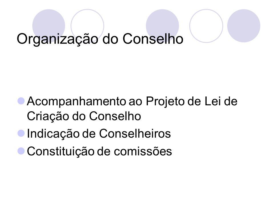 Organização do Conselho Acompanhamento ao Projeto de Lei de Criação do Conselho Indicação de Conselheiros Constituição de comissões