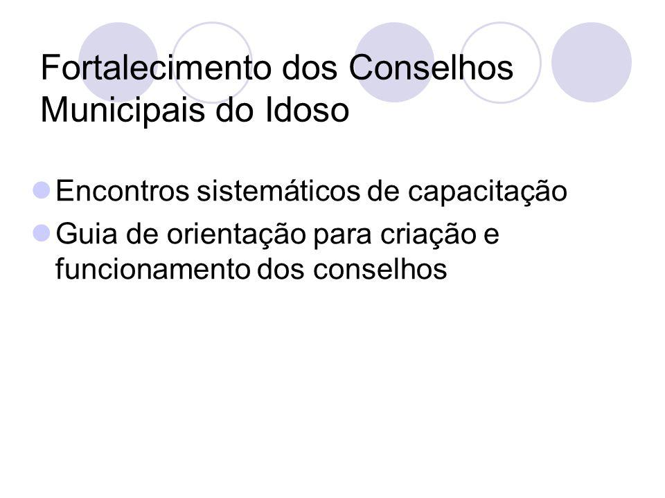 Fortalecimento dos Conselhos Municipais do Idoso Encontros sistemáticos de capacitação Guia de orientação para criação e funcionamento dos conselhos