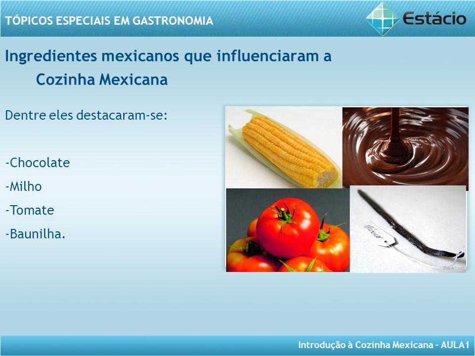 Introdução à Cozinha Mexicana – AULA1 TÓPICOS ESPECIAIS EM GASTRONOMIA Ingredientes mexicanos que influenciaram a Dentre eles destacaram-se: -Chocolat