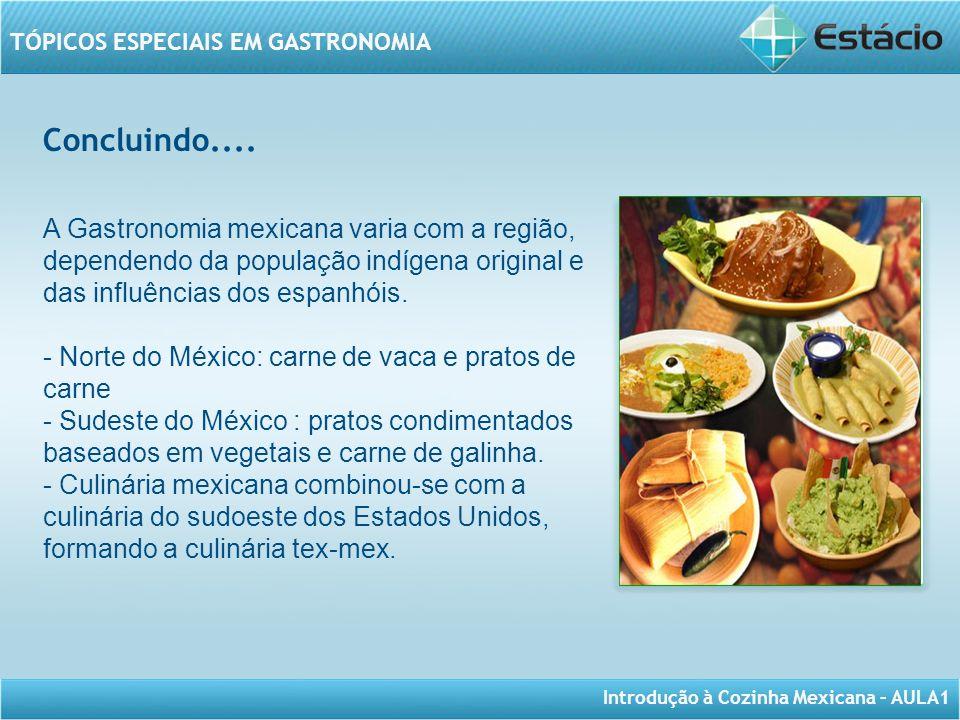 Introdução à Cozinha Mexicana – AULA1 TÓPICOS ESPECIAIS EM GASTRONOMIA Concluindo.... A Gastronomia mexicana varia com a região, dependendo da populaç