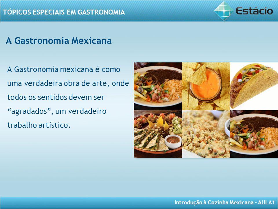Introdução à Cozinha Mexicana – AULA1 TÓPICOS ESPECIAIS EM GASTRONOMIA A Gastronomia Mexicana A Gastronomia mexicana é como uma verdadeira obra de art