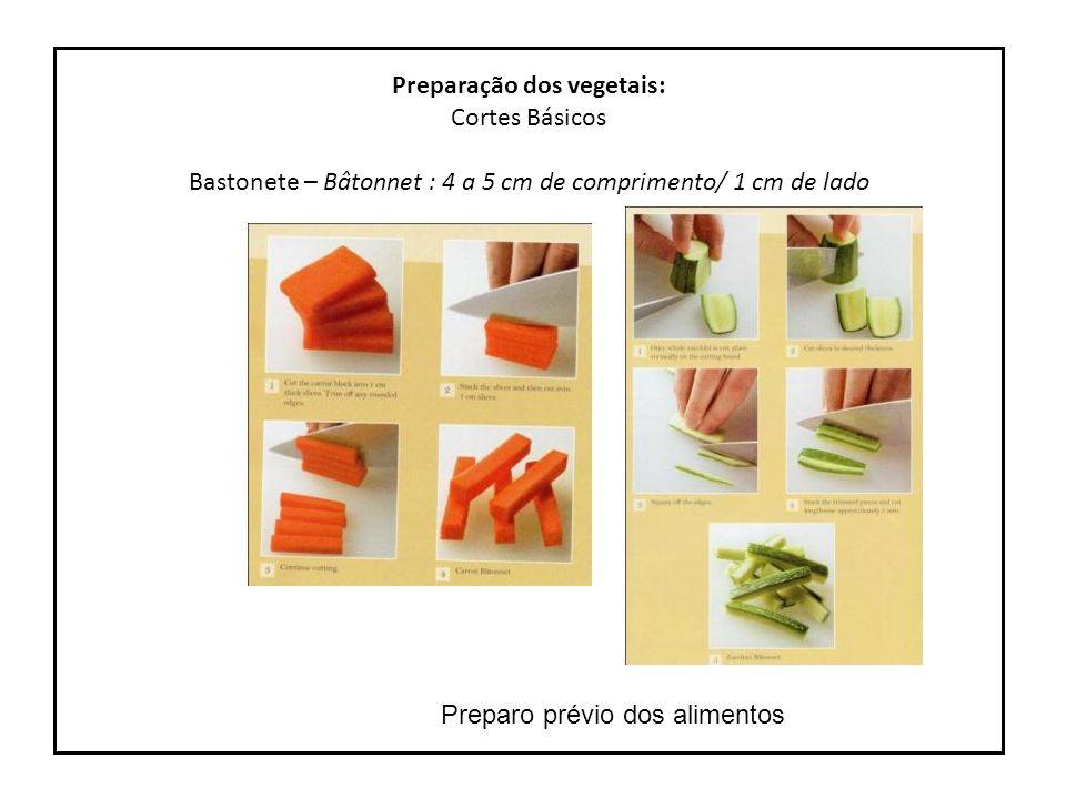 Preparação dos vegetais: Cortes Básicos Juliana ou Juliene – Julienne : 7 cm de comprimento/ 2 a 3 mm de lado ou espessura Preparo prévio dos alimentos