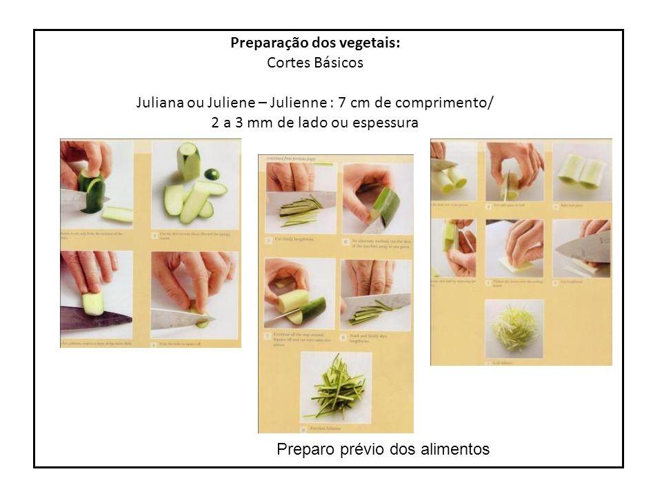 s Preparo prévio dos alimentos Preparação dos vegetais: Cortes Básicos Repicado – Salpicon Repicado de folhas e ervas