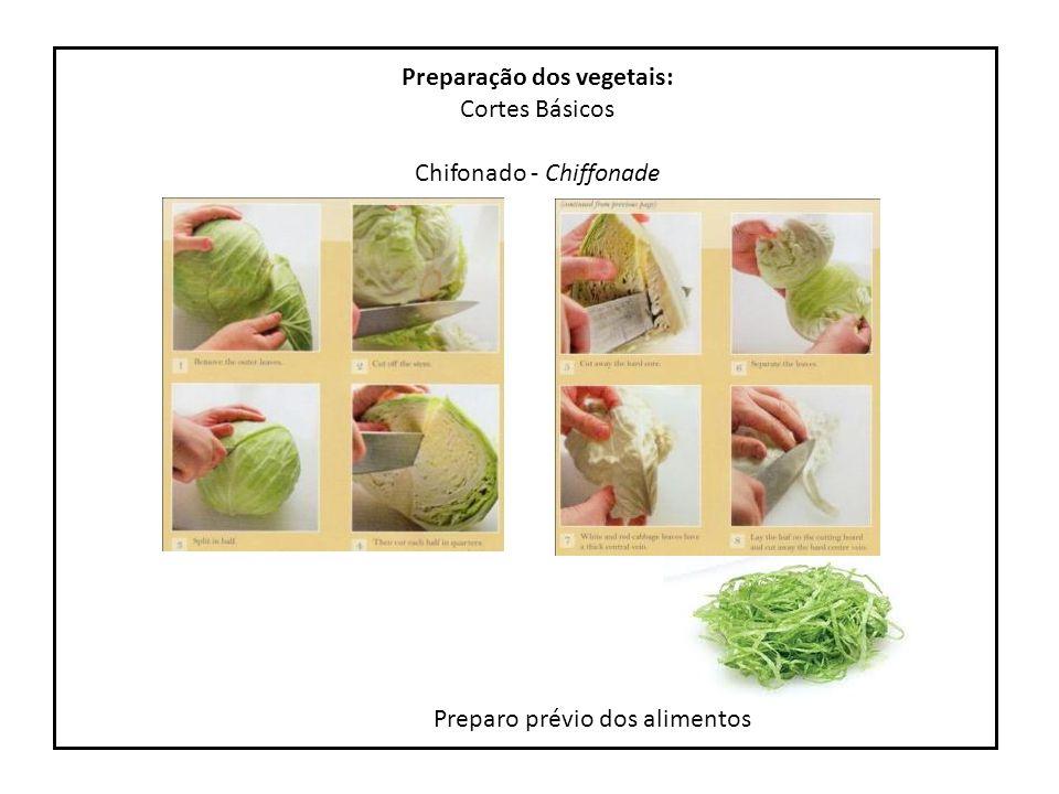 Preparo prévio de alimentos Preparação dos vegetais: Cortes Básicos Diagonal - sifflet