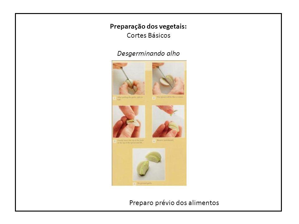 Preparo prévio dos alimentos Preparação dos vegetais: Cortes Básicos Brunoise de alho e cebola