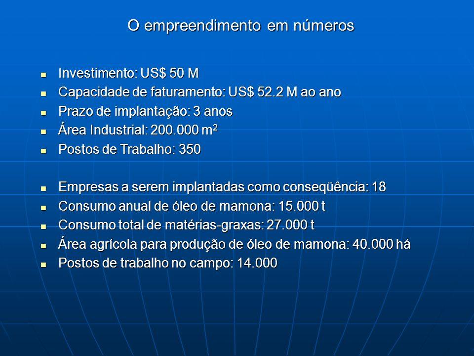 Investimento: US$ 50 M Investimento: US$ 50 M Capacidade de faturamento: US$ 52.2 M ao ano Capacidade de faturamento: US$ 52.2 M ao ano Prazo de implantação: 3 anos Prazo de implantação: 3 anos Área Industrial: 200.000 m 2 Área Industrial: 200.000 m 2 Postos de Trabalho: 350 Postos de Trabalho: 350 Empresas a serem implantadas como conseqüência: 18 Empresas a serem implantadas como conseqüência: 18 Consumo anual de óleo de mamona: 15.000 t Consumo anual de óleo de mamona: 15.000 t Consumo total de matérias-graxas: 27.000 t Consumo total de matérias-graxas: 27.000 t Área agrícola para produção de óleo de mamona: 40.000 há Área agrícola para produção de óleo de mamona: 40.000 há Postos de trabalho no campo: 14.000 Postos de trabalho no campo: 14.000 O empreendimento em números