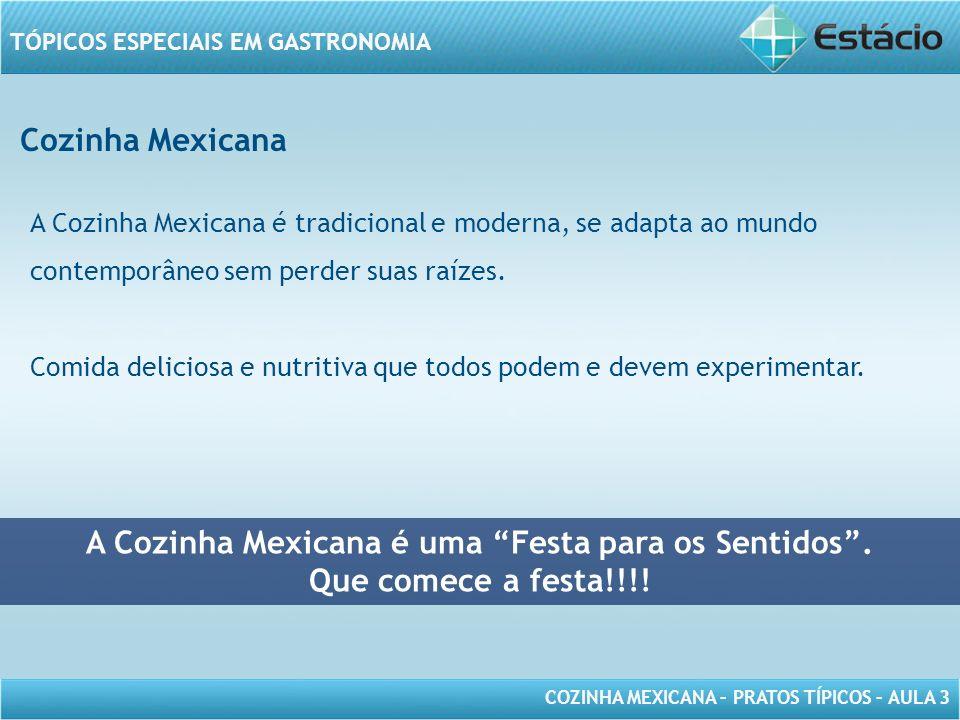 COZINHA MEXICANA – PRATOS TÍPICOS – AULA 3 TÓPICOS ESPECIAIS EM GASTRONOMIA Cozinha Mexicana A Cozinha Mexicana é tradicional e moderna, se adapta ao