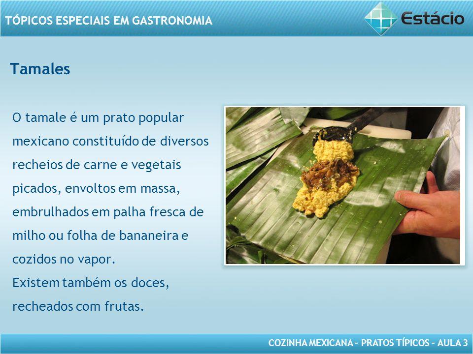 COZINHA MEXICANA – PRATOS TÍPICOS – AULA 3 TÓPICOS ESPECIAIS EM GASTRONOMIA Tamales O tamale é um prato popular mexicano constituído de diversos reche
