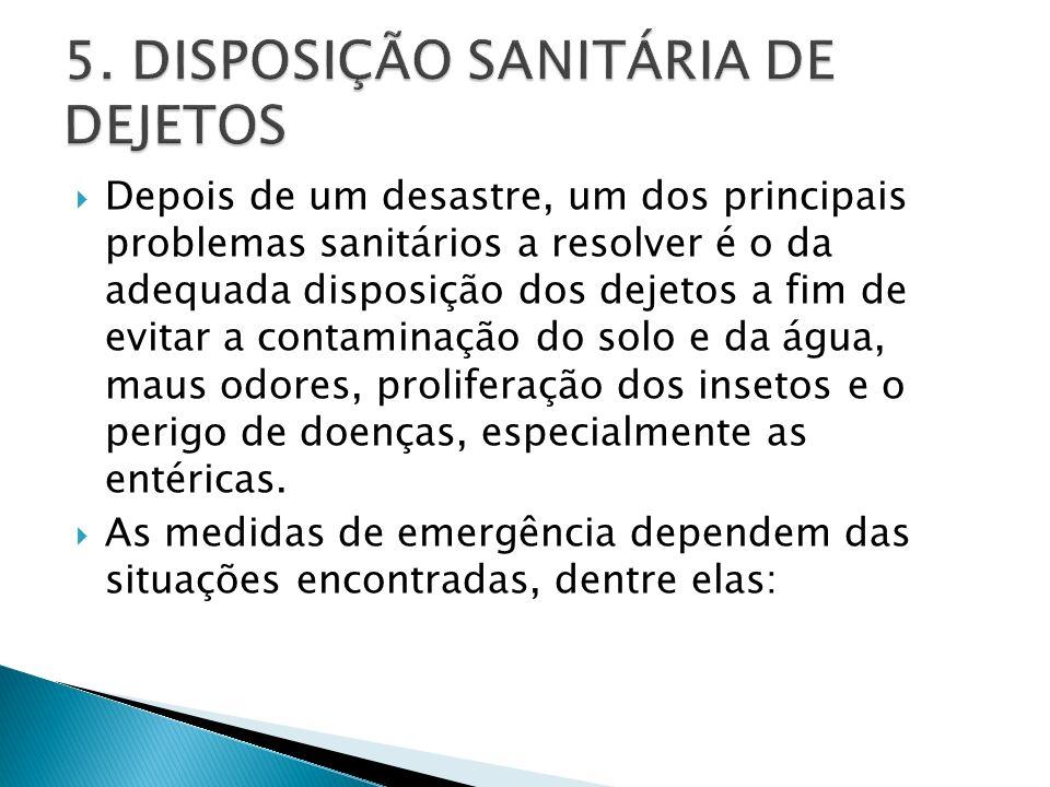 Depois de um desastre, um dos principais problemas sanitários a resolver é o da adequada disposição dos dejetos a fim de evitar a contaminação do solo