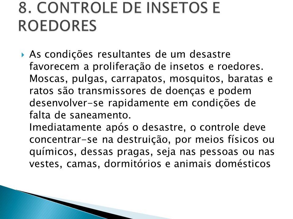 As condições resultantes de um desastre favorecem a proliferação de insetos e roedores. Moscas, pulgas, carrapatos, mosquitos, baratas e ratos são tra