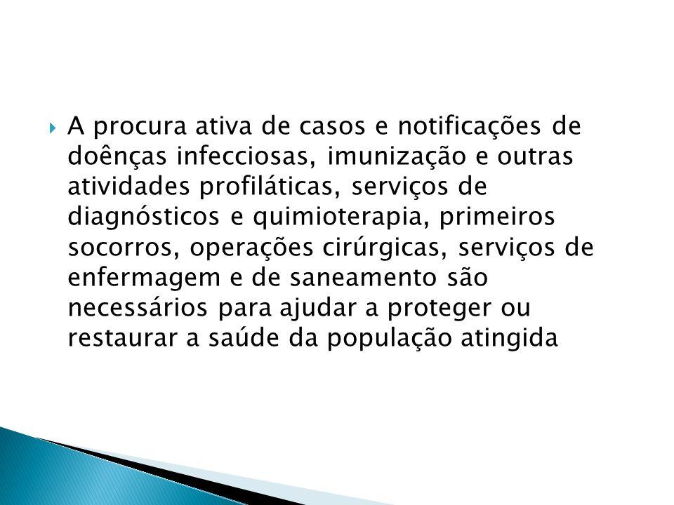 A procura ativa de casos e notificações de doênças infecciosas, imunização e outras atividades profiláticas, serviços de diagnósticos e quimioterapia,