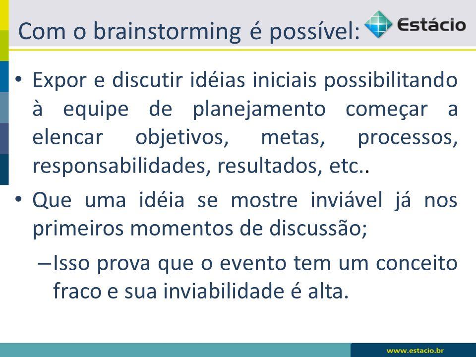 Com o brainstorming é possível: Expor e discutir idéias iniciais possibilitando à equipe de planejamento começar a elencar objetivos, metas, processos, responsabilidades, resultados, etc..
