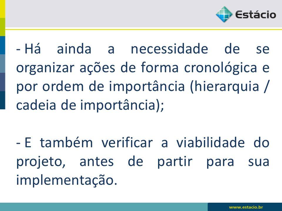 - Há ainda a necessidade de se organizar ações de forma cronológica e por ordem de importância (hierarquia / cadeia de importância); - E também verificar a viabilidade do projeto, antes de partir para sua implementação.