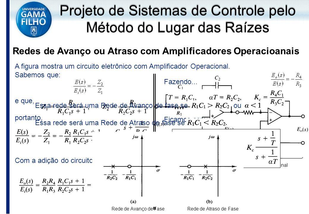 A figura mostra um circuito eletrônico com Amplificador Operacional. Sabemos que: e que, portanto, Com a adição do circuito inversor teremos: Projeto