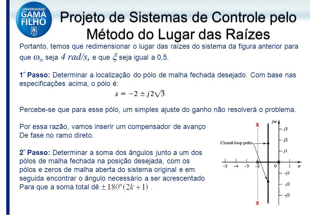 Portanto, temos que redimensionar o lugar das raízes do sistema da figura anterior para que n seja 4 rad/s, e que seja igual a 0,5. 1 º Passo: Determi